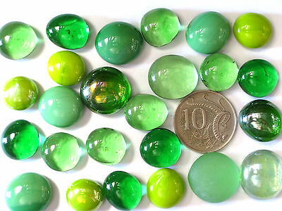 25 Mixed Green Glass Gems Arts & Crafts Mosaic Nuggets
