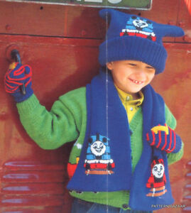 thomas-the-tank-engine-hat-scarf-and-mitts-dk-knitting-pattern-99p