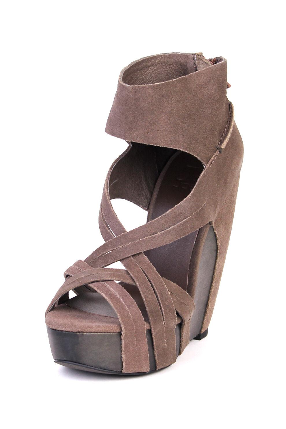 Joe's Jeans Gavin Wedge Sandal Brown $195 Leather Shoes NEW Wrap