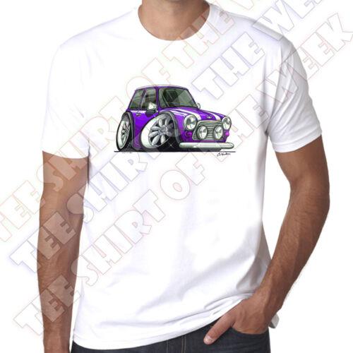 WickedArtz Cartoon Car Purple Mini Cooper Classic 100/%  Cotton White  T-shirt