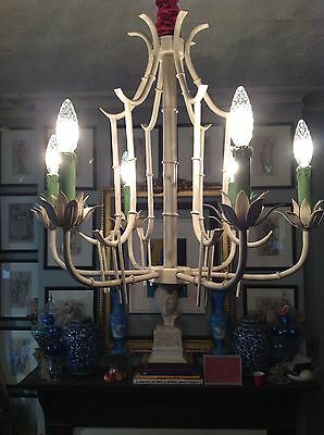 Bamboo collection on ebay faux bamboo pagoda cage chinese chippendale tole lotus chinoiserie chandelier aloadofball