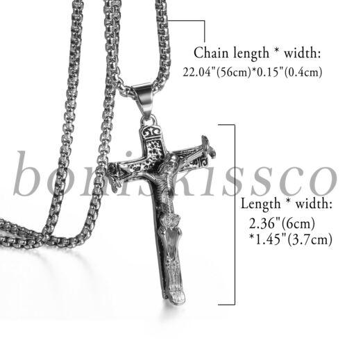 Men/'s Retro Stainless Steel Skull Truss Cross Crucifix Necklace Pendant Chain