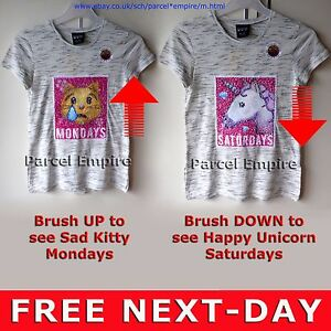 The amazing brush sequin t shirt reversible kitty cat for Sequin t shirt changing