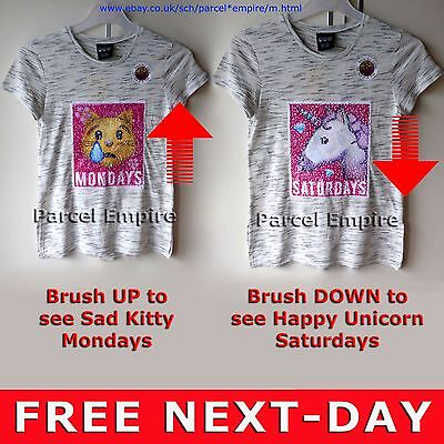 Official HELLO KITTY BRUSH SEQUIN T-SHIRT Reversible Girls Top Tee Gift UK Cat
