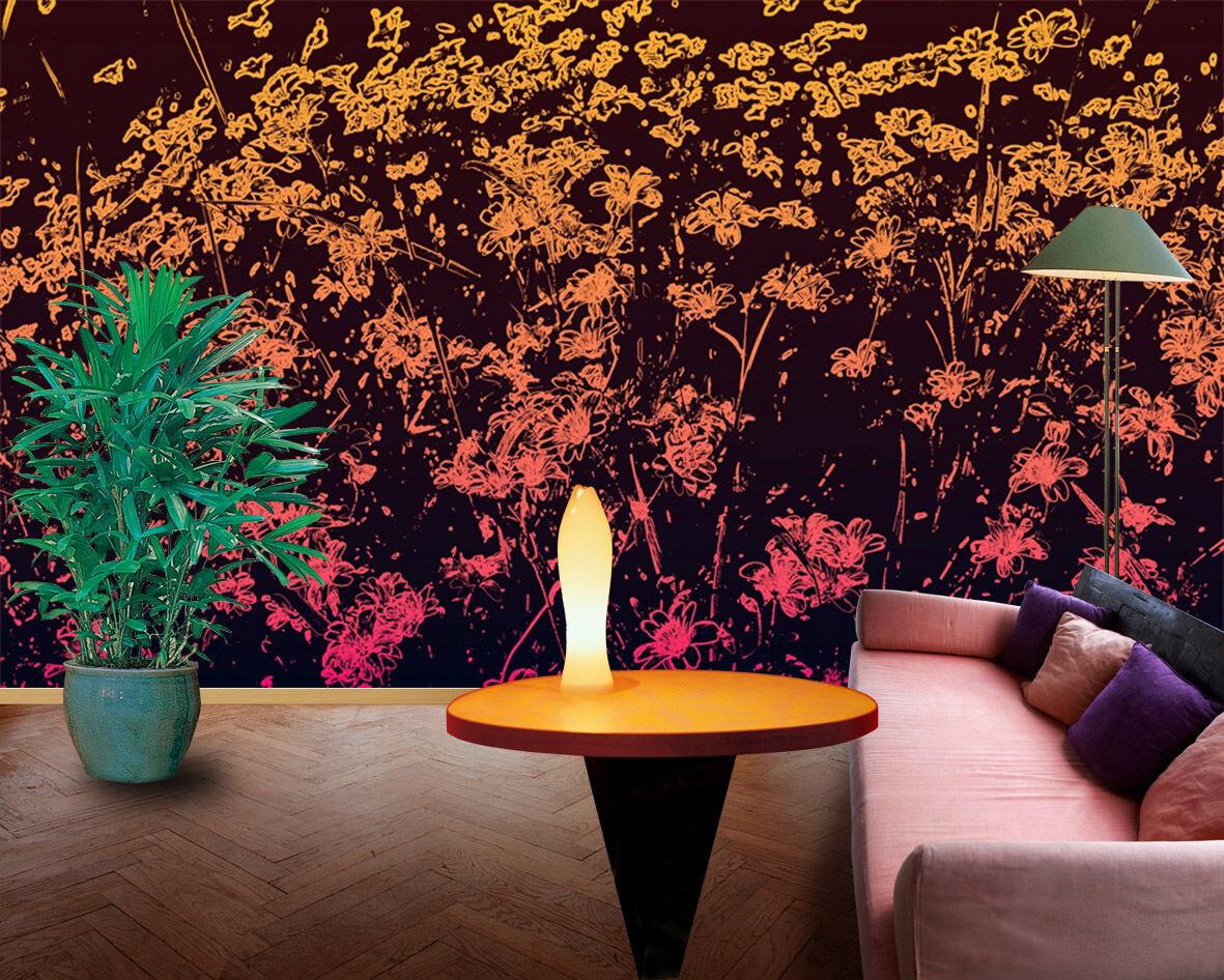 3D Fleur Feu 091 Photo Papier Peint en Autocollant Murale Plafond Chambre Art