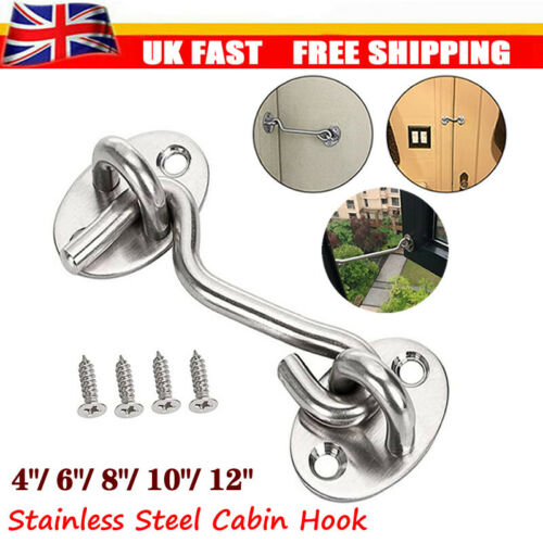 Cabin Hook And Eye Latch Lock Shed Gate Door Stainless Steel Catch Silent Holder