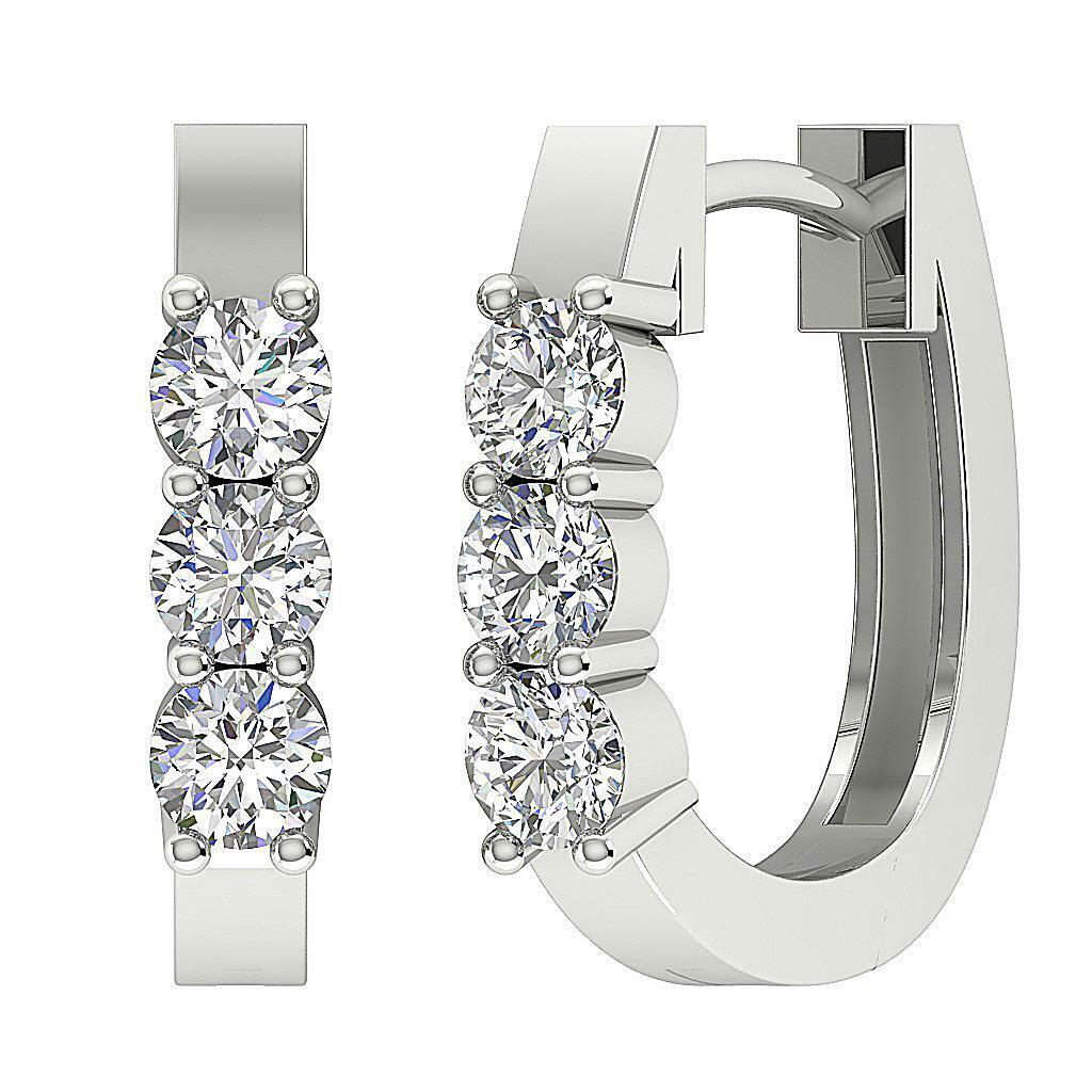 Hoops Earrings 0.70 Ct Natural Diamond SI1 G 14K White gold 0.50Inch Appraisal