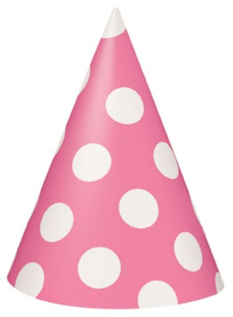 PINK POLKA DOTS - 8 Party Hats - Spots Birthday Party