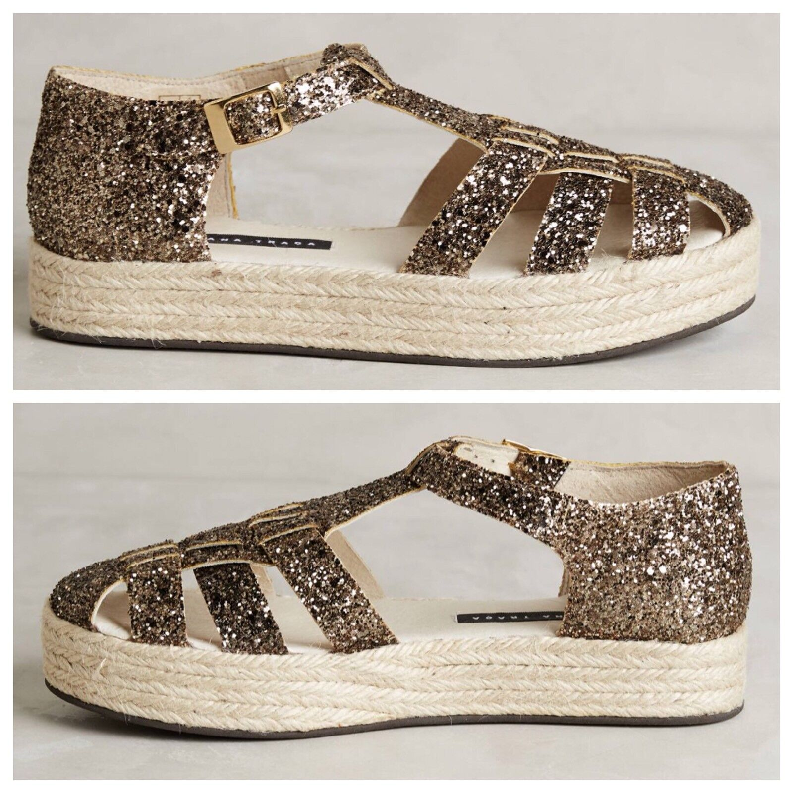 NEW Anthropologie Glitter Flatforms Size Size Size 40 Espadrilles Sandals SusanaTraca 590104