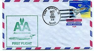 CréAtif Ffc 1981 First Flight American Airlines Fort Worth Texas Via Air Mail 50% De RéDuction