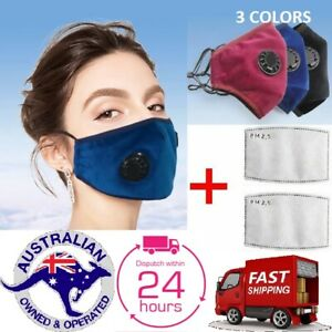 Washable Reusable Anti Pollution Cotton Face Cover + Activated Carbon Filters