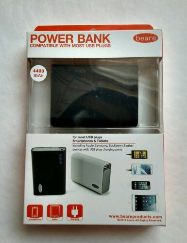 USB Smart phones /& Tablets Compatible Black New Beare Brand Power Bank