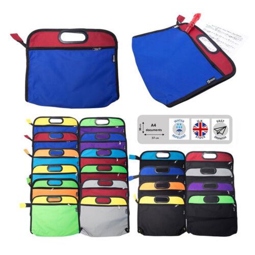 2 Colour Blue /& Red School Zip Bag Folder A4 Size Sheet Books Kids Students