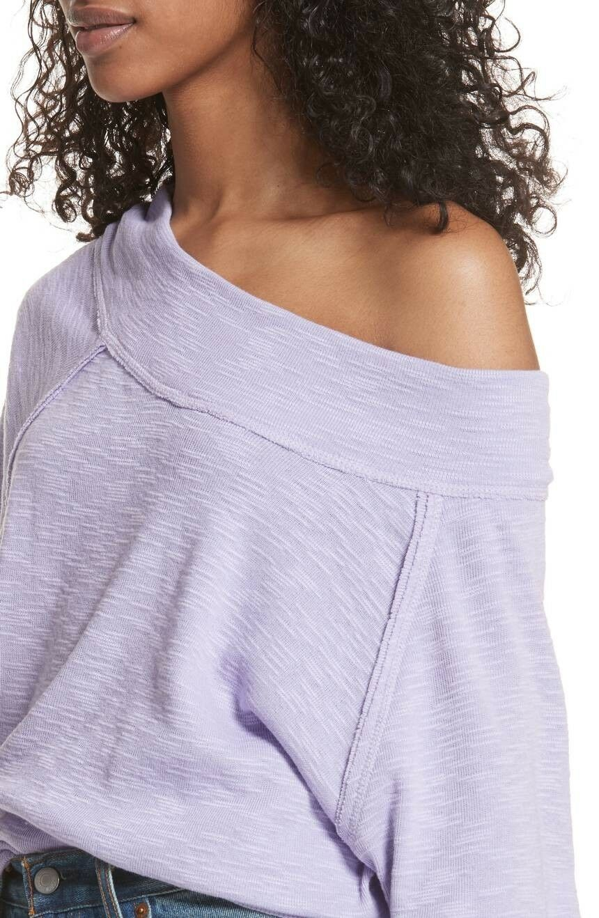 New Free People Palisades Off Shoulder Thermal Sweater Top Cozy Shirt Purple