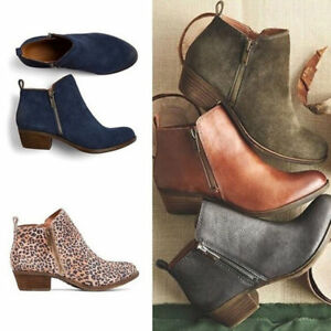 Women-039-s-Casual-Booties-Low-Heels-Block-Ankle-Boots-Round-Toe-Zip-Up-Shoes-Size