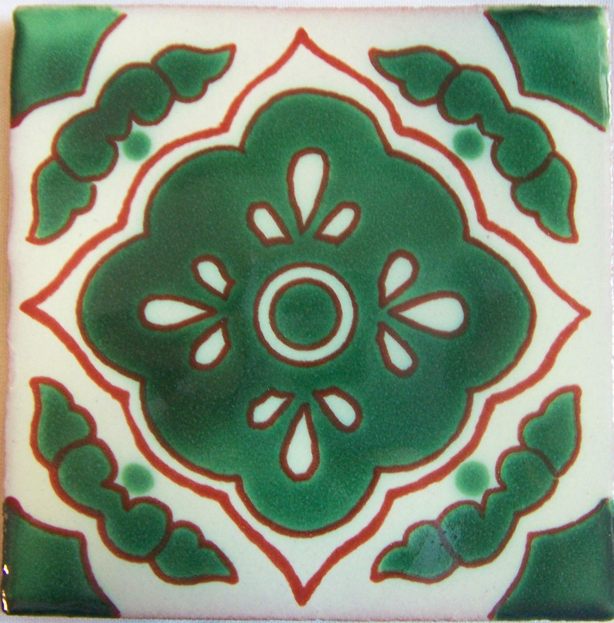 C303 - Mexican Handmade Talavera Clay Tile Folk Art 4x4