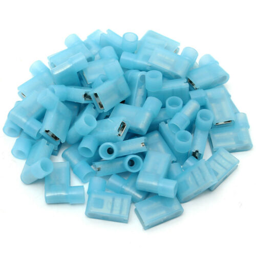 """50pc 16-14AWG 1//4/"""" 90° Right Flag Wire Female Spade Terminal Connector Insulated"""