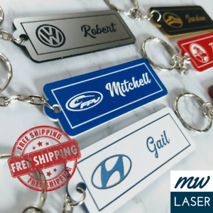 Car-Logo-Personalised-Key-Ring-Free-Post-Pick-Colour-amp-Name-Single-Sided