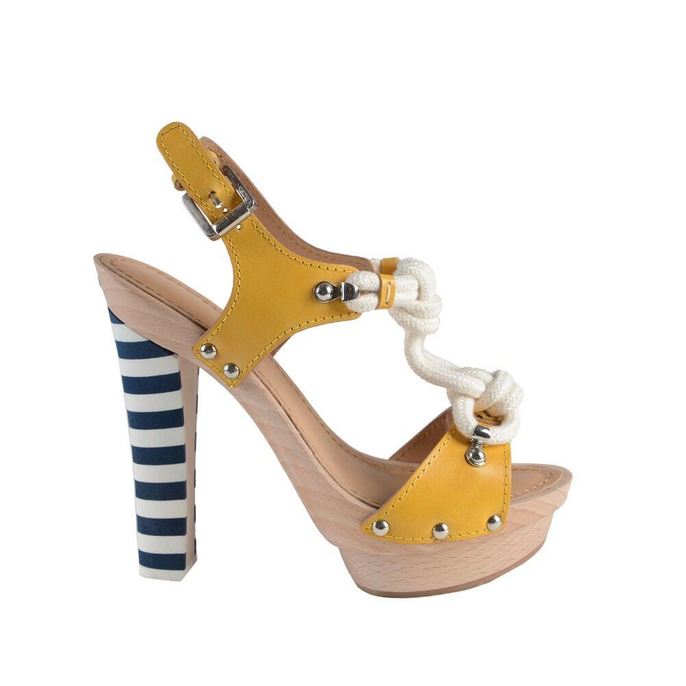 Dsquarosso  Leather Platform Slingback Sandals Heels scarpe scarpe scarpe Sz 6 7 9 09eac4