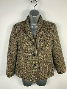 WOMENS-EASTEX-BLACK-BROWN-SMART-CASUAL-BUTTON-UP-BLAZER-COAT-JACKET-SIZE-12