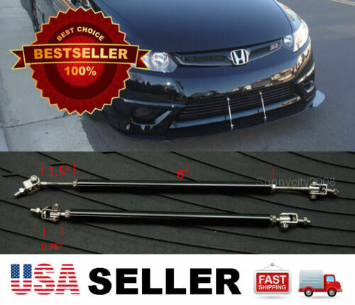 "Black 8-11/"" adjustable extension Rod Bumper Lip Diffuser splitter For Hyundai"