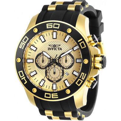 Invicta Men's Pro Diver Chrono 100m Gold Tone S. Steel Silicone Watch 26088