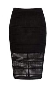 New-FOREVER-NEW-Size-6-Black-Geometric-Lace-Midi-Pencil-SKIRT-Gold-Zip