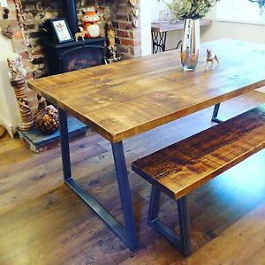 Image Is Loading Industrial Style Dining Table And Bench Set