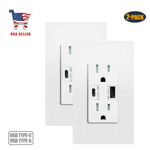 4.8A USB Type C Wall Outlet Duplex Receptacle 15 Amp 2pack Tamper Resistant