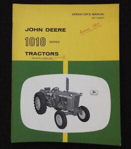 1963-64 John Deere 1010 Row-crop Utilitaire Orchard Tracteur Opérateurs Manuel Pour Assurer Une Transmission En Douceur