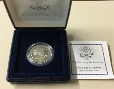 1999-P US Mint Susan B Anthony Proof Dollar Coin with Box and COA