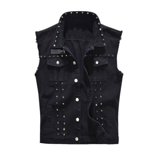 Fashion Men Waistcoat Jacket Zipper Slim Fit Casual Punk Denim Motorbike Vest UK