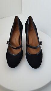 Nurture-Olivvia-Women-Black-Suede-Leather-Mary-Jane-Heels-8-5-M