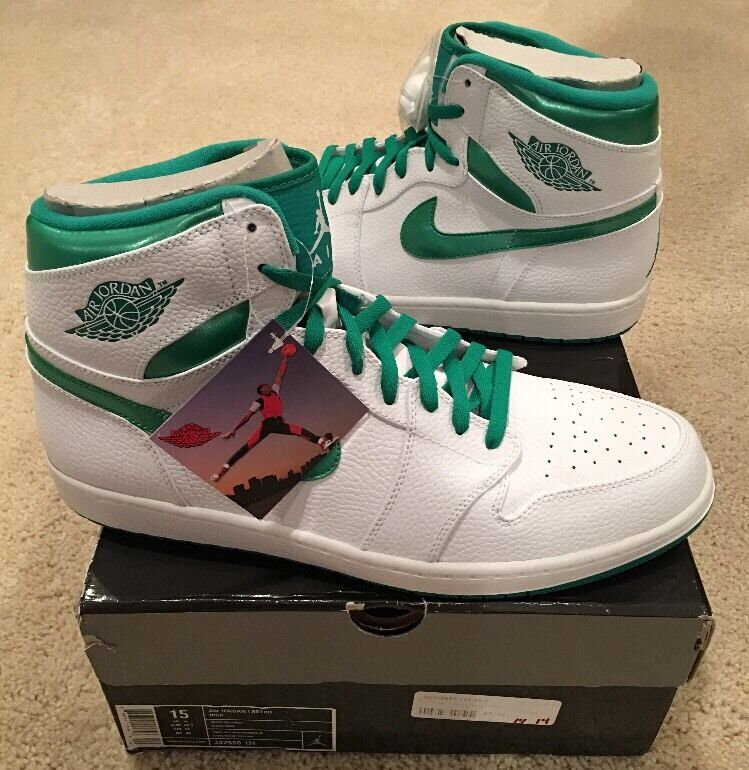 Nike air jordan retro - 1 hohe og Weiß sea green metallic - größe 15 ds - packung