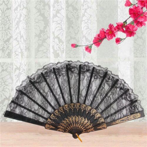New Spanish Style Dance Party Wedding Lace Silk Folding Hand Held Flower Fan /'UK