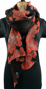LARGE RED ROSES PEONIES TATTOO ROCKABILLY SCARF SHAWL SARI SARONG WRAP LARGE