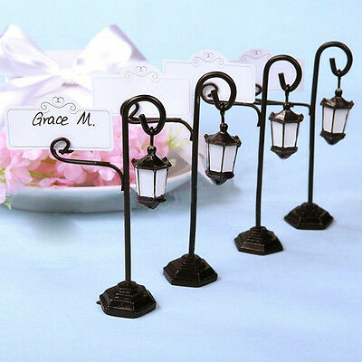 4PCS Medieval Streetlamp Table Marker Name Place Card Holder Wedding Party Decor