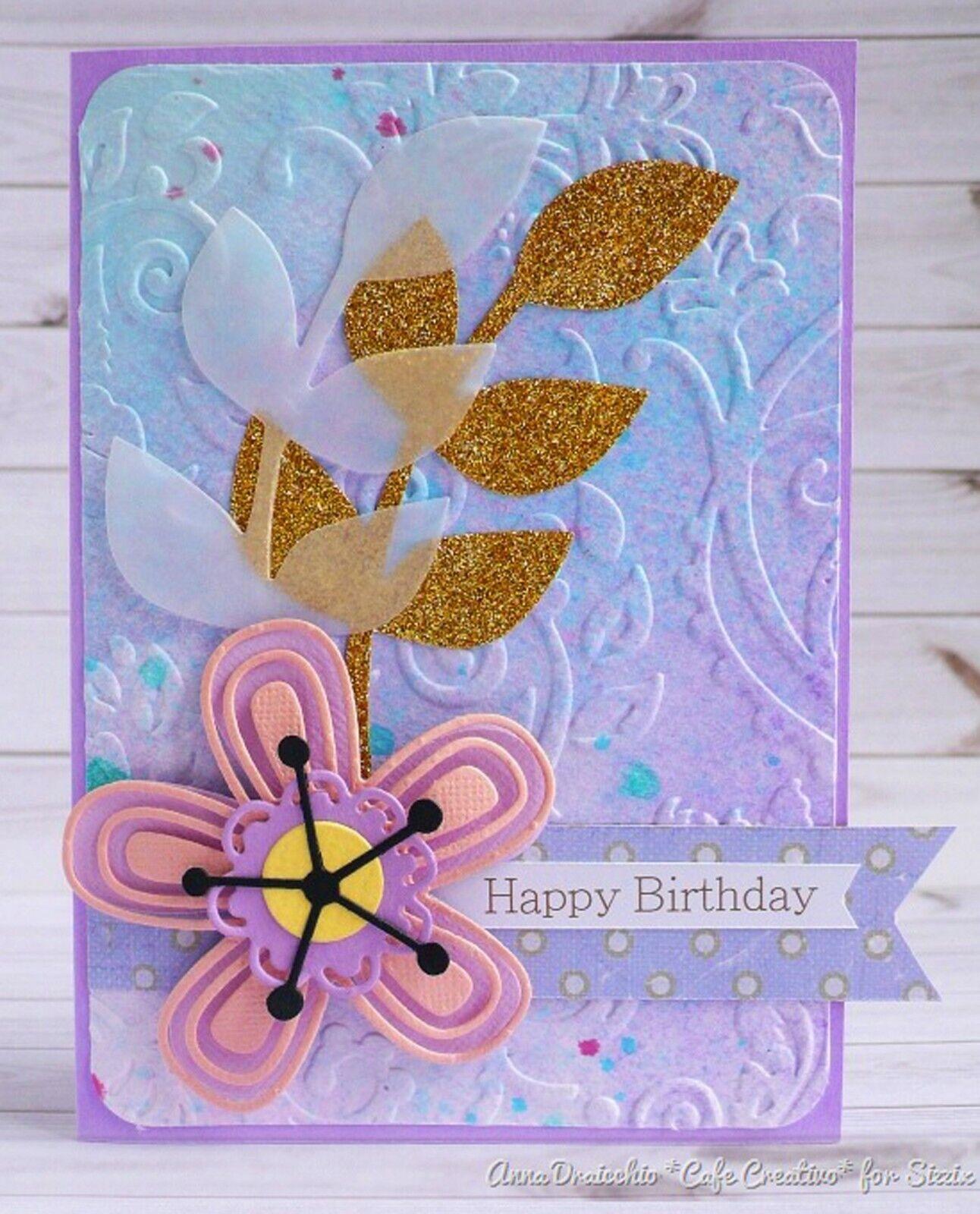Mehrfarbig Sizzix Happy Texture von Debi Potter Textured Impressions Plus Pr/ägemappe
