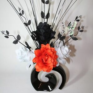 Artificial silk flower arrangement orange black white flowers in image is loading artificial silk flower arrangement orange black amp white mightylinksfo