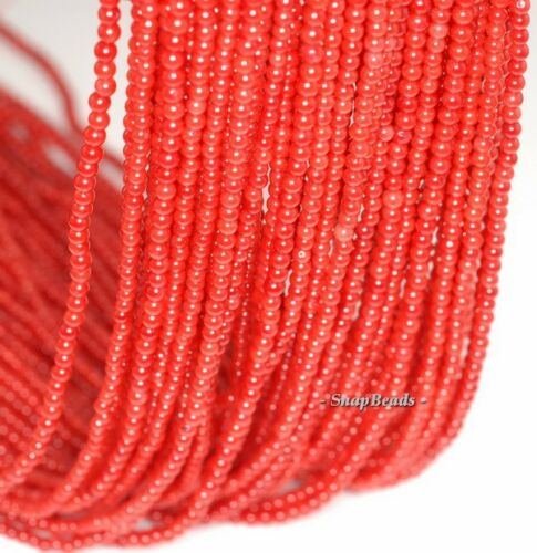 """2MM RED CORAL GEMSTONE GRADE A RED ROUND 2MM LOOSE BEADS 16/"""""""