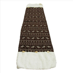 Holiday-Moose-Table-Runner-Dark-Brown-16x70in-Faux-Sheep-Wool-by-Melrose