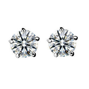 GORGEOUS-18K-WHITE-GOLD-PLATED-CLEAR-GENUINE-CUBIC-ZIRCONIA-STUD-EARRINGS