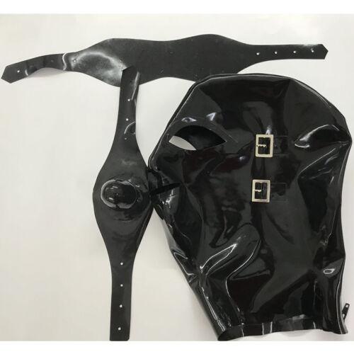 Full Cover Latex Hood with Eyeshade and Gag Back Zipper Handmade Rubber Mask