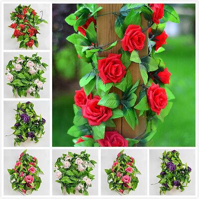1x Silk Rose Flower Fake Artificial Ivy Vine Hanging Garland Wedding Home Decor