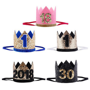 Baby Birthday Party Cap Boys Girls Priness Crown Number 1st 18 30