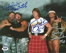Rowdy Roddy Piper Jimmy Snuka Bushwhackers Butch + Signed WWE 8x10 Photo PSA/DNA