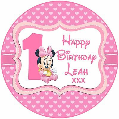 Pleasing Disney Baby Minnie Mouse 1St 2 3 4 5 Birthday Edible Personalised Funny Birthday Cards Online Alyptdamsfinfo