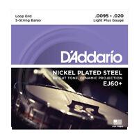 D'Addario EJ60+ 5-String Banjo, Nickel, Light Plus, 9.5-20
