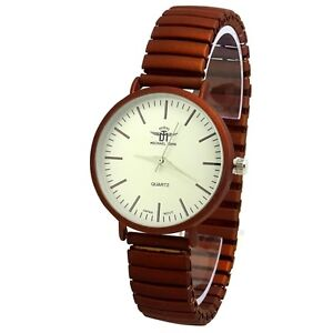 MONTRE-UNISEXE-EXTENSIBLE-MARRON-CHOCOLAT-CAMEL-METALLISE-BRILLANT-IDEE-CADEAU
