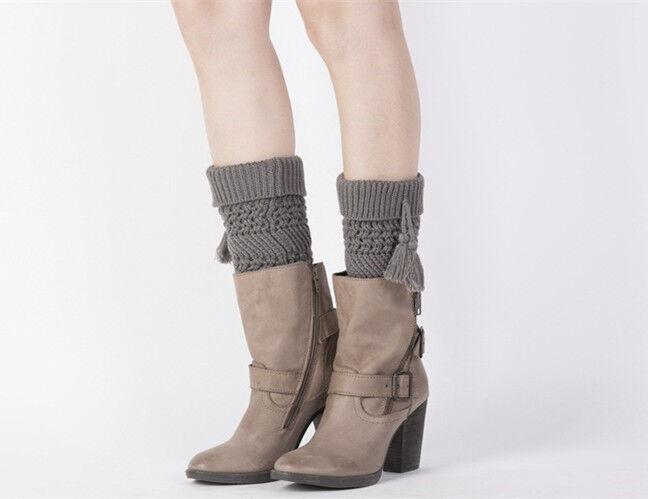 Winter Quasten Stiefel Stulpen Damen Beinwärmer Strick Socken Weihnachten Häkel
